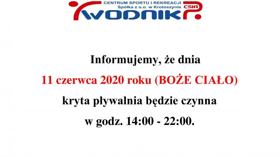 Informacja dotycząca godzin otwarcia krytej pływalni w dn. 11.06.2020.