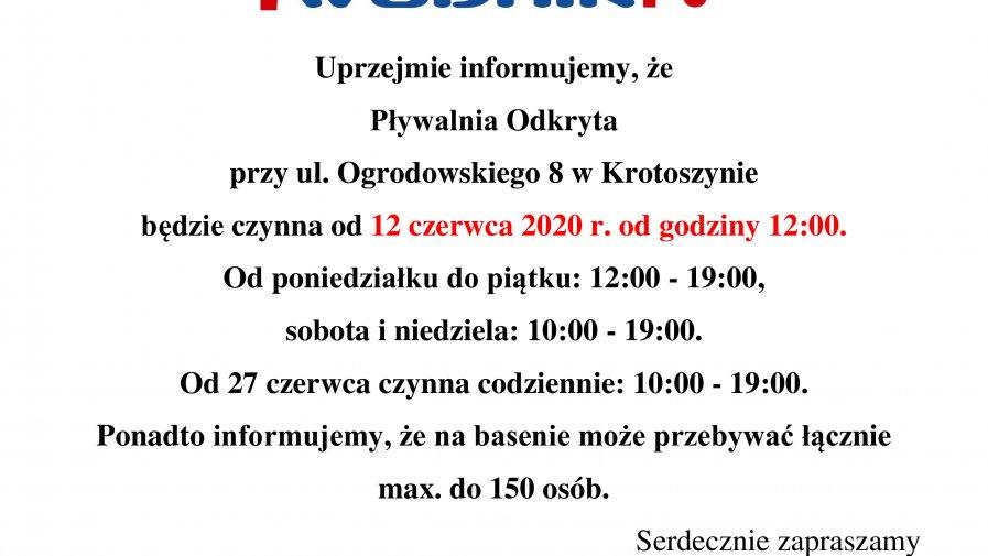 INFORMACJA DOTYCZĄCA OTWARCIA ODKRYTEJ PŁYWALNI 12.06.2020.