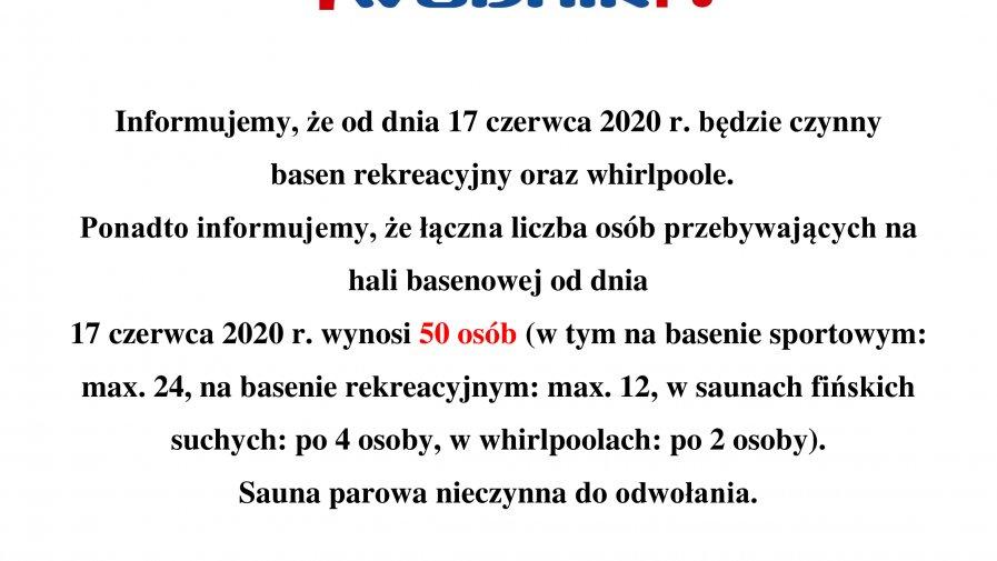 Basen rekreacyjny oraz whirlpoole czynne od 17czerwca 2020 r.