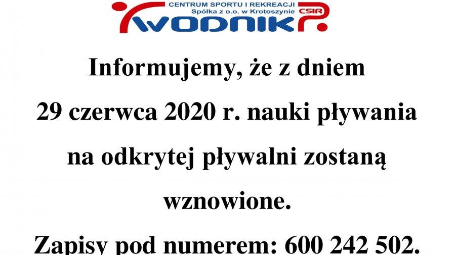 Informacja dot. wznowienia nauk pływania na odkrytej pływalni od 29.06.2020 r.