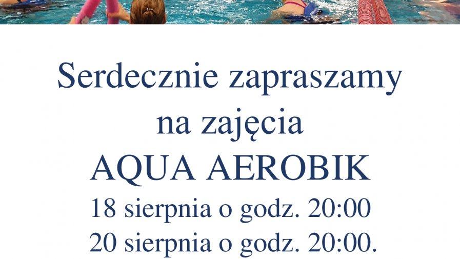 Terminarz zajęć aqua aerobiku - sierpień.
